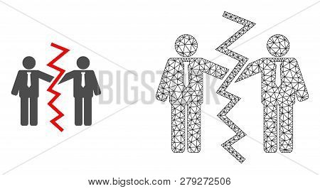 Polygonal Mesh Businessmen Divorce And Flat Icon Are Isolated On A White Background. Abstract Black