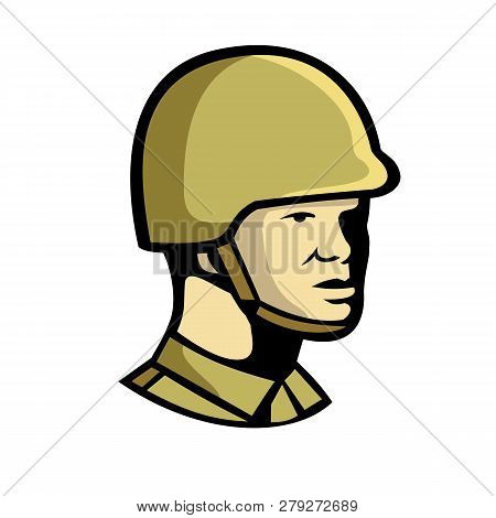 Icon Retro Style Illustration Of A Chinese Communist Soldier Or Military Officer Personnel Looking T