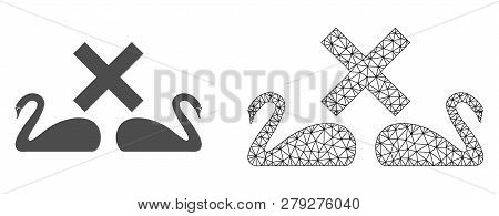 Polygonal Mesh Divorce Swans And Flat Icon Are Isolated On A White Background. Abstract Black Mesh L