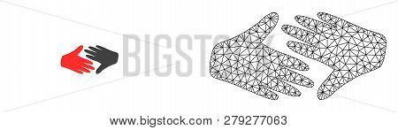 Polygonal Mesh Fair Trade Handshake And Flat Icon Are Isolated On A White Background. Abstract Black