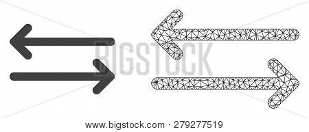Polygonal Mesh Flip Arrows Horizontally And Flat Icon Are Isolated On A White Background. Abstract B