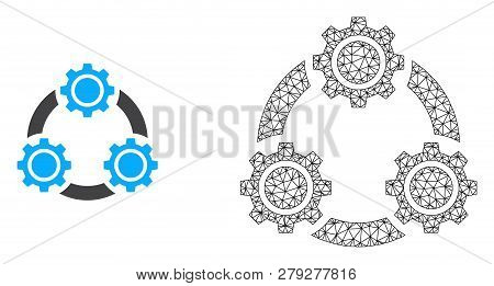 Polygonal Mesh Gear Planetary Transmission And Flat Icon Are Isolated On A White Background. Abstrac