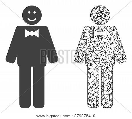 Polygonal Mesh Happy Mister And Flat Icon Are Isolated On A White Background. Abstract Black Mesh Li