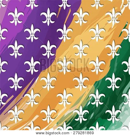 Mardi Gras Carnival Pattern With Fleur-de-lis. Vector Illustration