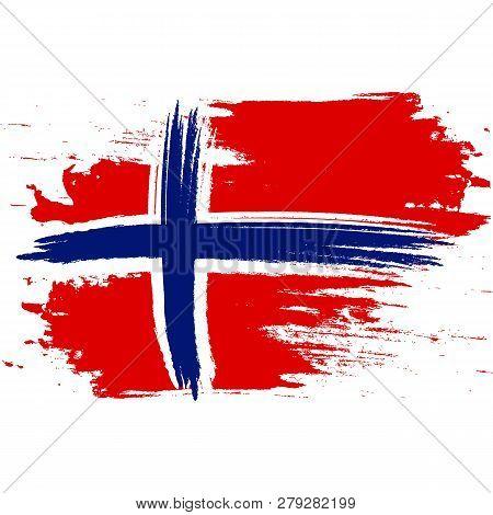 Flag Of Norway. Brush Painted Flag Of Norway. Hand Drawn Style Illustration With A Grunge Effect And