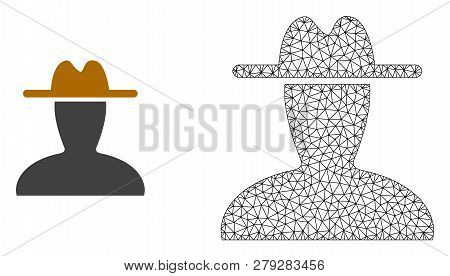 Polygonal Mesh Peasant Persona And Flat Icon Are Isolated On A White Background. Abstract Black Mesh