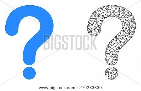 Polygonal Mesh Question Mark And Flat Icon Are Isolated On A White Background. Abstract Black Mesh L