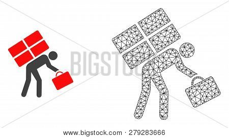 Polygonal Mesh Refugee Persona And Flat Icon Are Isolated On A White Background. Abstract Black Mesh