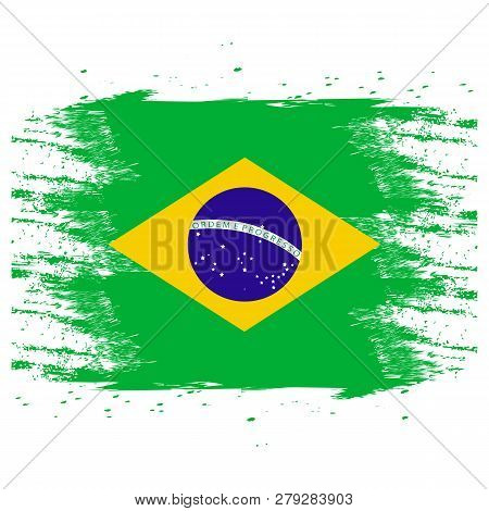 4a16ada50c36b Brazil Flag. Brush Painted Brazil Flag. Hand Drawn Style Illustration With  A Grunge Effect