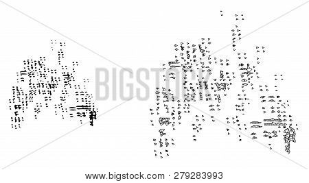 Polygonal Mesh Sand Swarm And Flat Icon Are Isolated On A White Background. Abstract Black Mesh Line