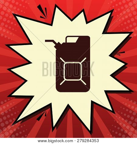 Jerrycan Oil Sign. Jerry Can Oil Sign. Vector. Dark Red Icon In