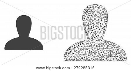 Polygonal Mesh Spawn Persona And Flat Icon Are Isolated On A White Background. Abstract Black Mesh L