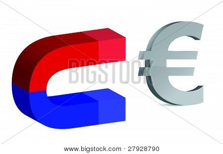 Magnet and euro sign on white background