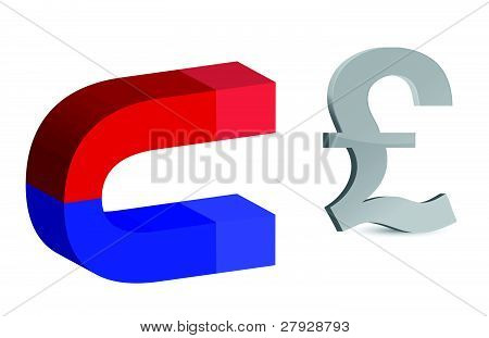 Magnet and pound sign on white background