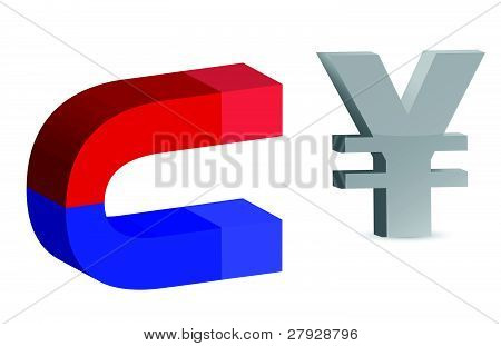 Magnet and yen sign on white background