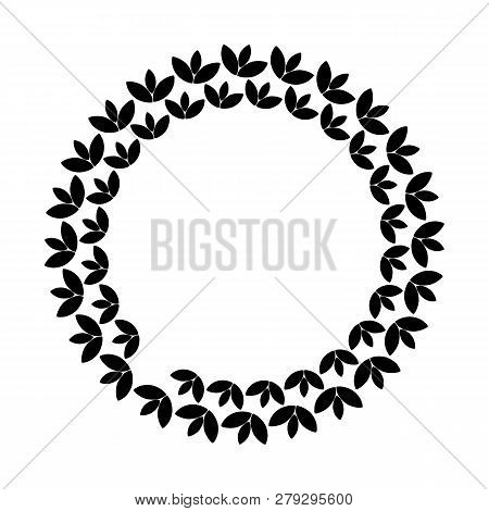 Black Vintage Abstract Trees Circle Pattern Frame On White Background, Border Circle Pattern Frame,