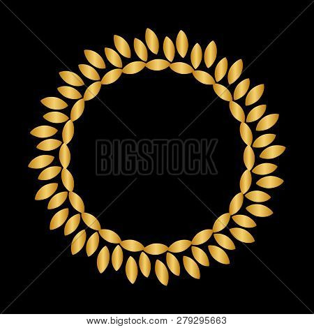 Gold Vintage Abstract Trees Circle Pattern Frame On Black Background, Border Circle Pattern Frame, E