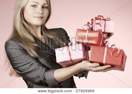 business-woman & gift