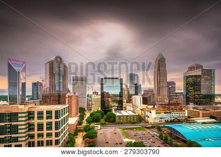 Charlotte, North Carolina, USA uptown skyline at twilight.