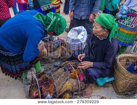 Dong Van , Vietnam - Sep 16 : The Weekend Market In Dong Van Vietnam On September 16 2018. The Marke