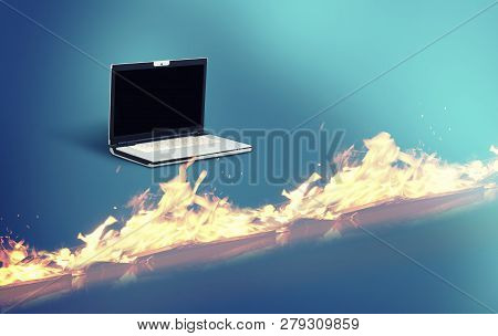 Laptop In Front Of A Firewall Suggesting Cyber Protection.