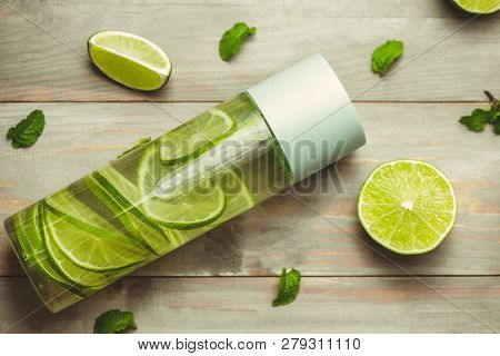 Health Care, Fitness, Healthy Nutrition Diet Concept. Fresh Cool Lemon Mint Infused Water, Cocktail,