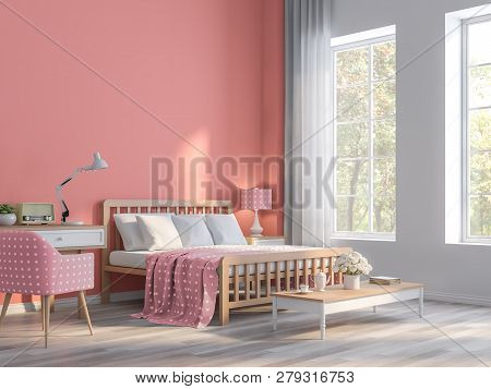 Coral Pink Bedroom With Nature View 3d Render.the Rooms Have  Wooden Floors And Coral Pink Empty Wal
