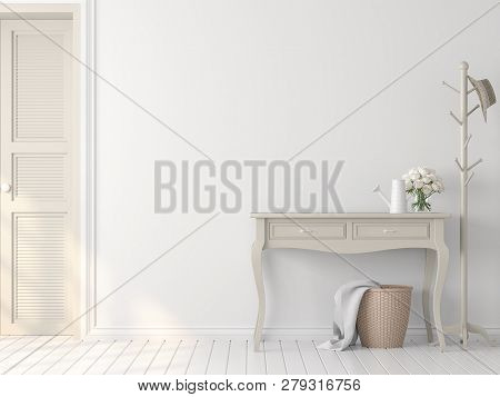 Classical Style White Empty Room Interior 3d Render,there Are White Wood Floor,white Paint Wall,deco