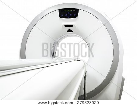 CT Scanner ( Computed Tomography ) isolated on white background. obique view.medical technology concept. Clipping path. poster
