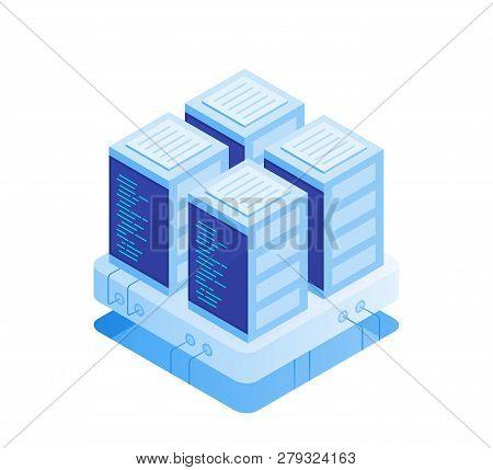 Concept Of Server Room. Hosting With Cloud Data Storage And Server Room. Server Rack. Modern Vector