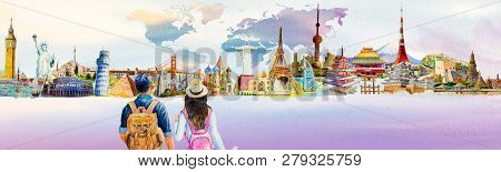 Two Young Tourists With Backpacks Sightseeing Travel Landmark Around The World. Watercolor Hand Draw