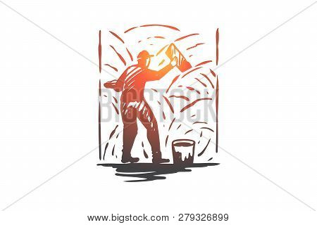Grouting, Cement, Worker, Wall, Repair Concept. Hand Drawn Repairman With Tool And Cement Concept Sk