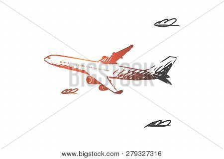 Airplane, Sky, Flight, Transport, Trip Concept. Hand Drawn Airplane Flying In The Sky Concept Sketch
