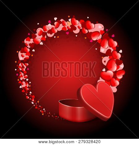 Red Composition With A Red Casket And A Round Wreath Of Many Hearts.