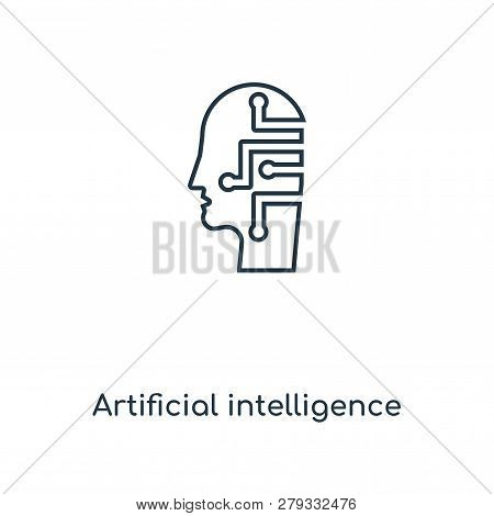 Artificial Intelligence Icon In Trendy Design Style. Artificial Intelligence Icon Isolated On White