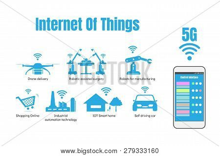 Internet Of Things Or Iot Concept, 5g Internet High Speed