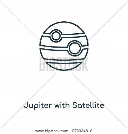 Jupiter With Satellite Icon In Trendy Design Style. Jupiter With Satellite Icon Isolated On White Ba