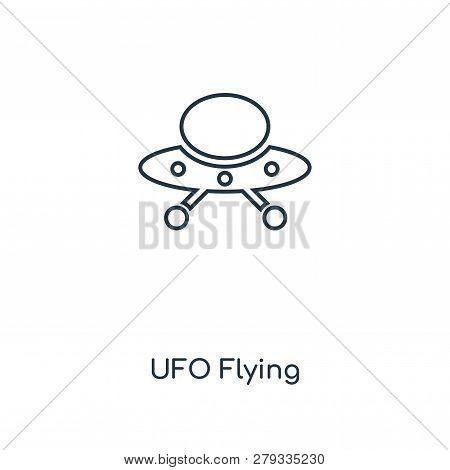 Ufo Flying Icon In Trendy Design Style. Ufo Flying Icon Isolated On White Background. Ufo Flying Vec