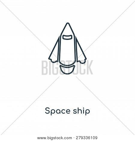 Space Ship Icon In Trendy Design Style. Space Ship Icon Isolated On White Background. Space Ship Vec