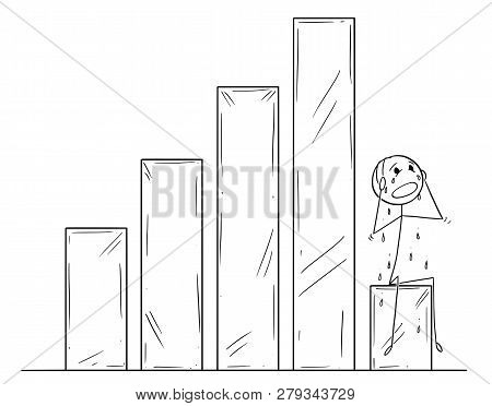 Cartoon Stick Drawing Conceptual Illustration Of Depressed Crying Man Or Businessman Sitting On Fall
