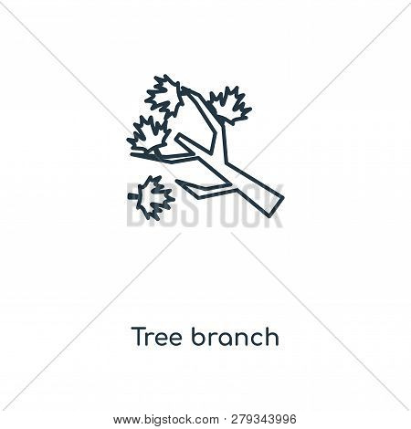 Tree Branch Icon In Trendy Design Style. Tree Branch Icon Isolated On White Background. Tree Branch