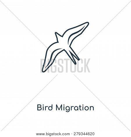 Bird Migration Icon In Trendy Design Style. Bird Migration Icon Isolated On White Background. Bird M