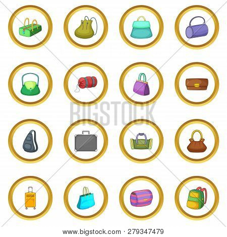 Different Bagage Icons Circle Gold In Cartoon Style Isolate On White Background Illustration