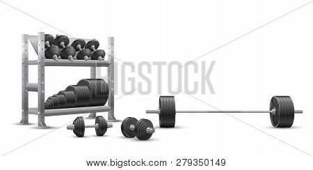 Beautiful Realistic Fitness Vector Perspective View On White Background Of An Olympic Barbell, Black