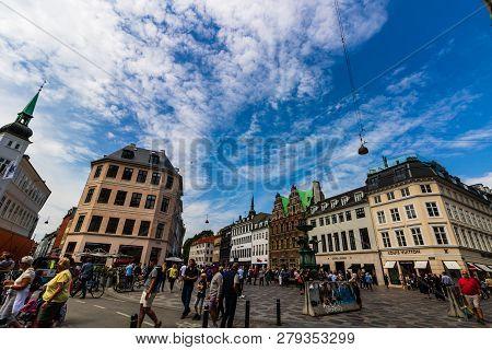 Copenhagen, Denmark - 2019.main Shopping Street In Copenhagen, Denmark. Tourists Wandering On The St