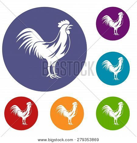 Gallic Rooster Icons Set In Flat Circle Reb, Blue And Green Color For Web
