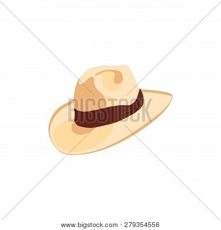 Cowboy Hat Icon With Ribbon Or Hat Band. Simple Cartoon Hat Illustration. Floppy Hat. Broad-brimmed