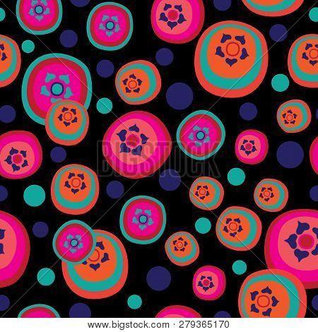 Pomegranate Candies-fruit Delight. A Groovy Abstract Pattern Illustration Of Pomegranate Candy Shape