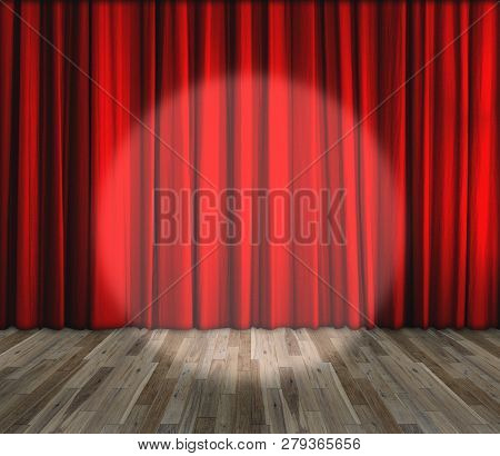 Background. Lighting On Stage. Red Curtain And Wooden Floor Interior Background. Interior Template F