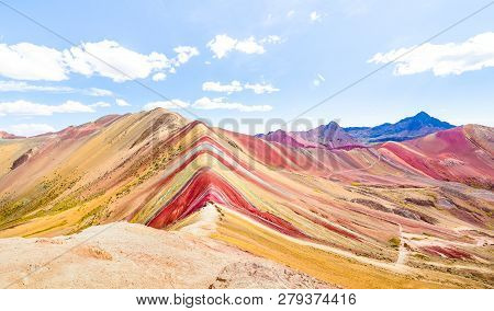 Panoramic View Of Rainbow Mountain At Vinicunca Mount In Peru - Travel And Wanderlust Concept Explor